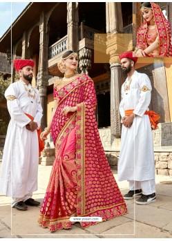 Rose Red Designer Party Wear Rangoli Silk Wedding Sari