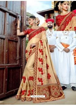 Light Beige Designer Party Wear Rangoli Silk Wedding Sari