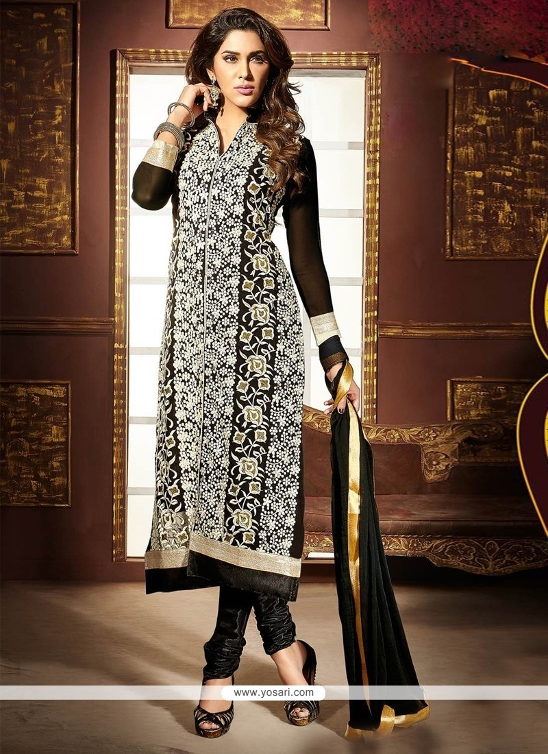 Baronial Black Embroidered Work Faux Georgette Churidar Designer Suit
