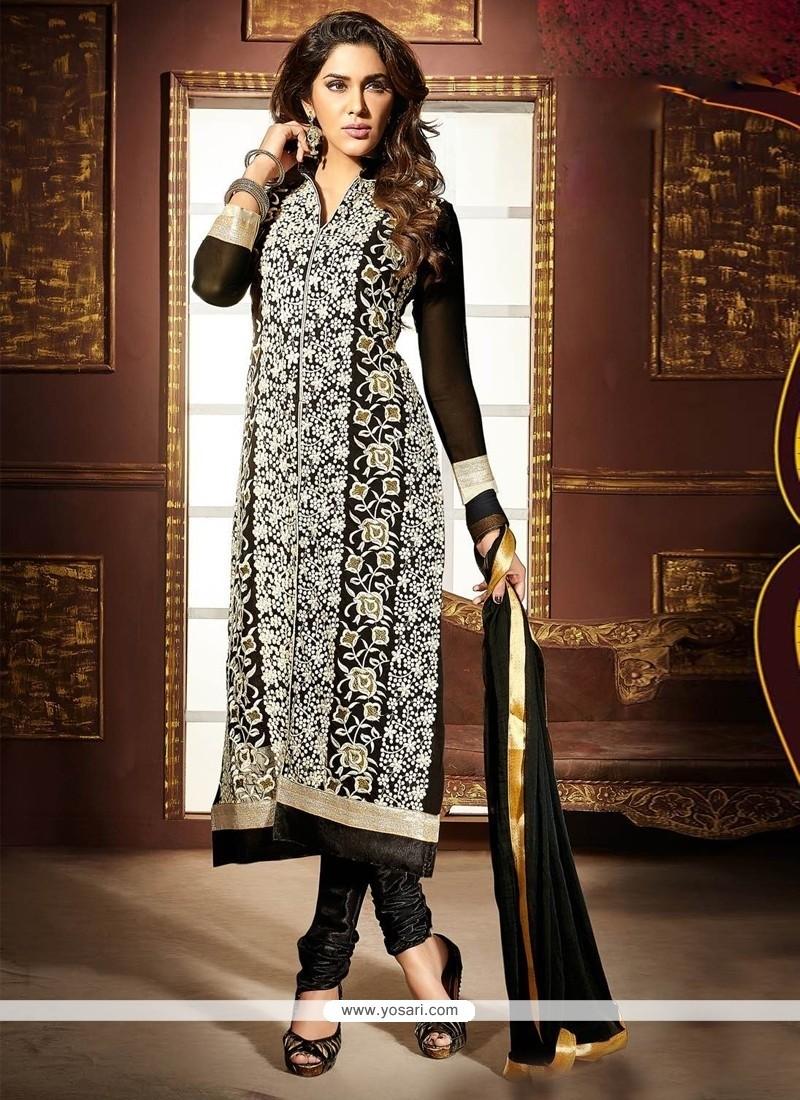 Baronial Black Embroidered Work Faux Georgette Churidar Designer Suit