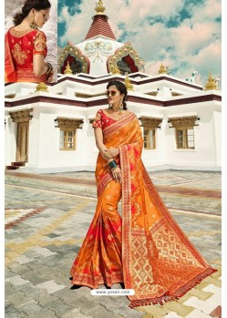 Orange Designer Printed Party Wear SilkᅠSari