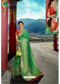 Forest Green Designer Printed Party Wear SilkᅠSari