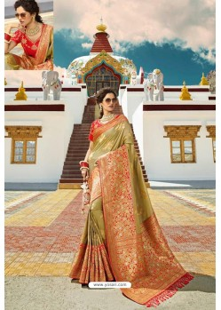 Marigold Designer Printed Party Wear SilkᅠSari