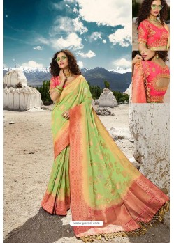 Green Designer Printed Party Wear SilkᅠSari