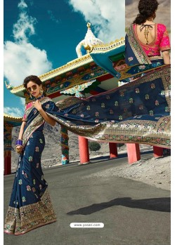 Peacock Blue Designer Printed Party Wear SilkᅠSari