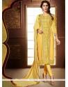 Sensational Faux Georgette Zari Work Churidar Designer Suit