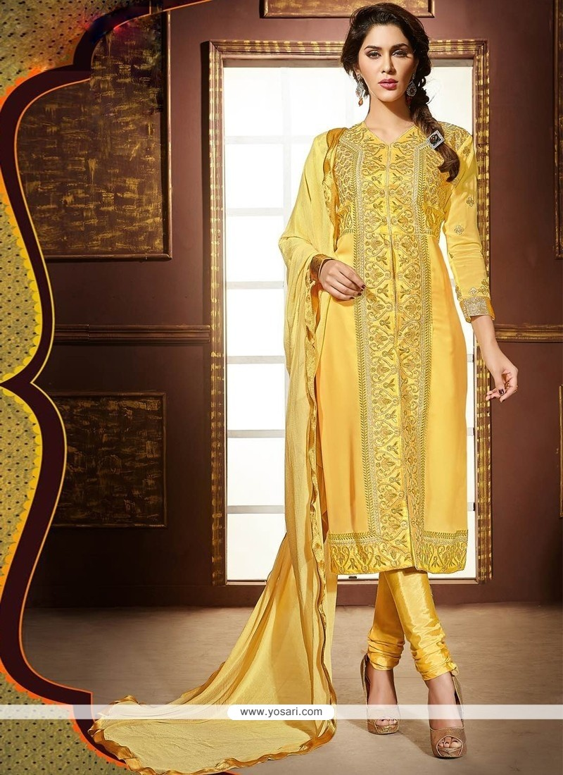 Sensational Faux Georgette Zari Work Churidar Designer Suit