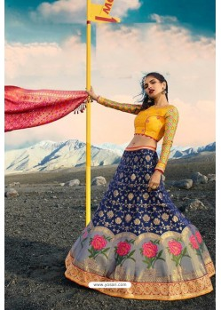 Dark Blue Exclusive Silk Designer Readymade Lehenga Choli
