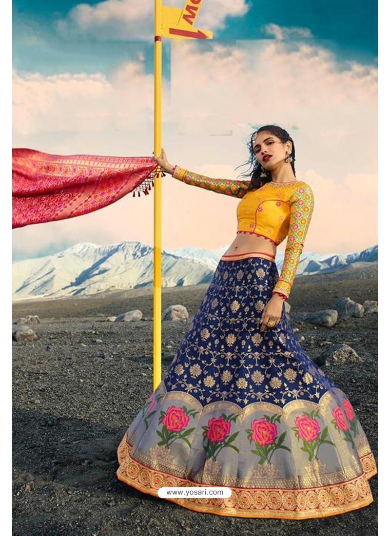 Dark Blue Exclusive Silk Designer Readymade Lehenga Choli