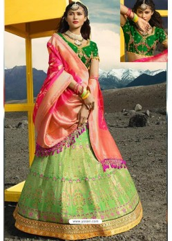 Green Exclusive Silk Designer Readymade Lehenga Choli