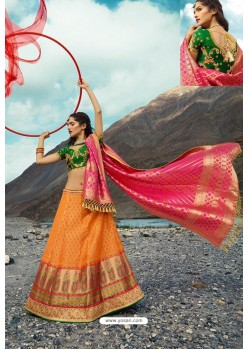 Orange Exclusive Silk Designer Readymade Lehenga Choli