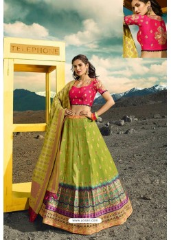 Parrot Green Exclusive Silk Designer Readymade Lehenga Choli
