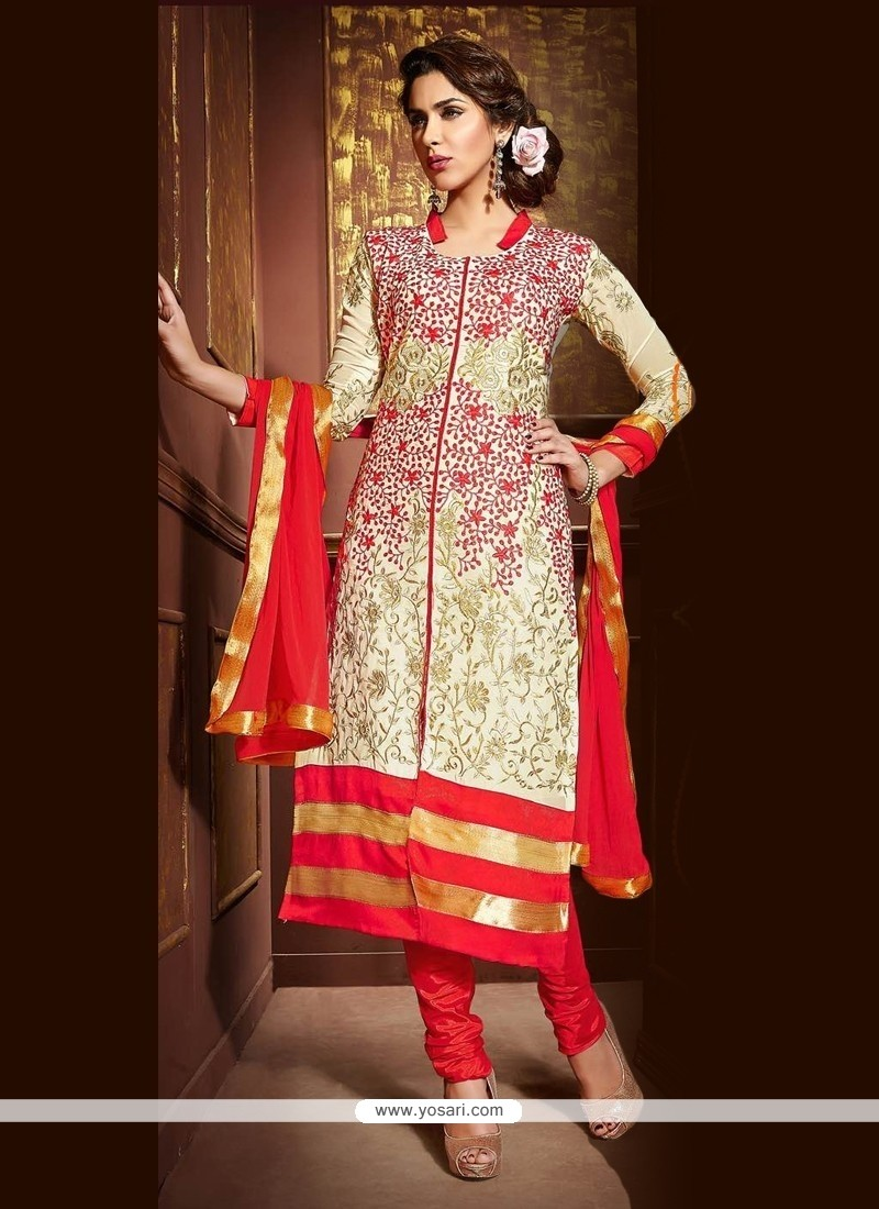 Girlish Faux Georgette Resham Work Churidar Designer Suit