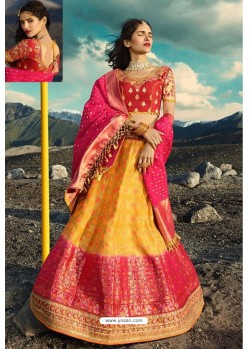 Yellow Exclusive Silk Designer Readymade Lehenga Choli