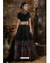 Black Heavy Embroidered Thai Silk Party Wear Lehenga Choli