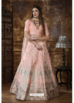 Baby Pink Heavy Embroidered Thai Silk Party Wear Lehenga Choli