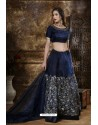 Navy Blue Heavy Embroidered Organza Party Wear Lehenga Choli