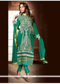 Suave Faux Georgette Sea Green Churidar Designer Suit