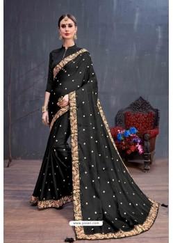 Black Designer Printed Classic Wear Sari