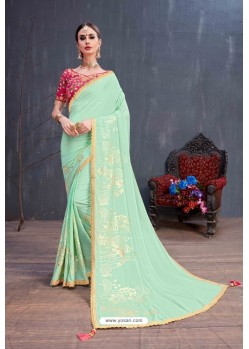 Sea Green Designer Printed Classic Wear Sari