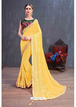 Yellow Designer Printed Classic Wear Sari