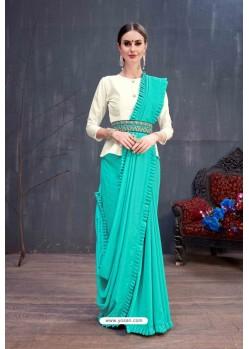 Aqua Blue Designer Printed Classic Wear Sari