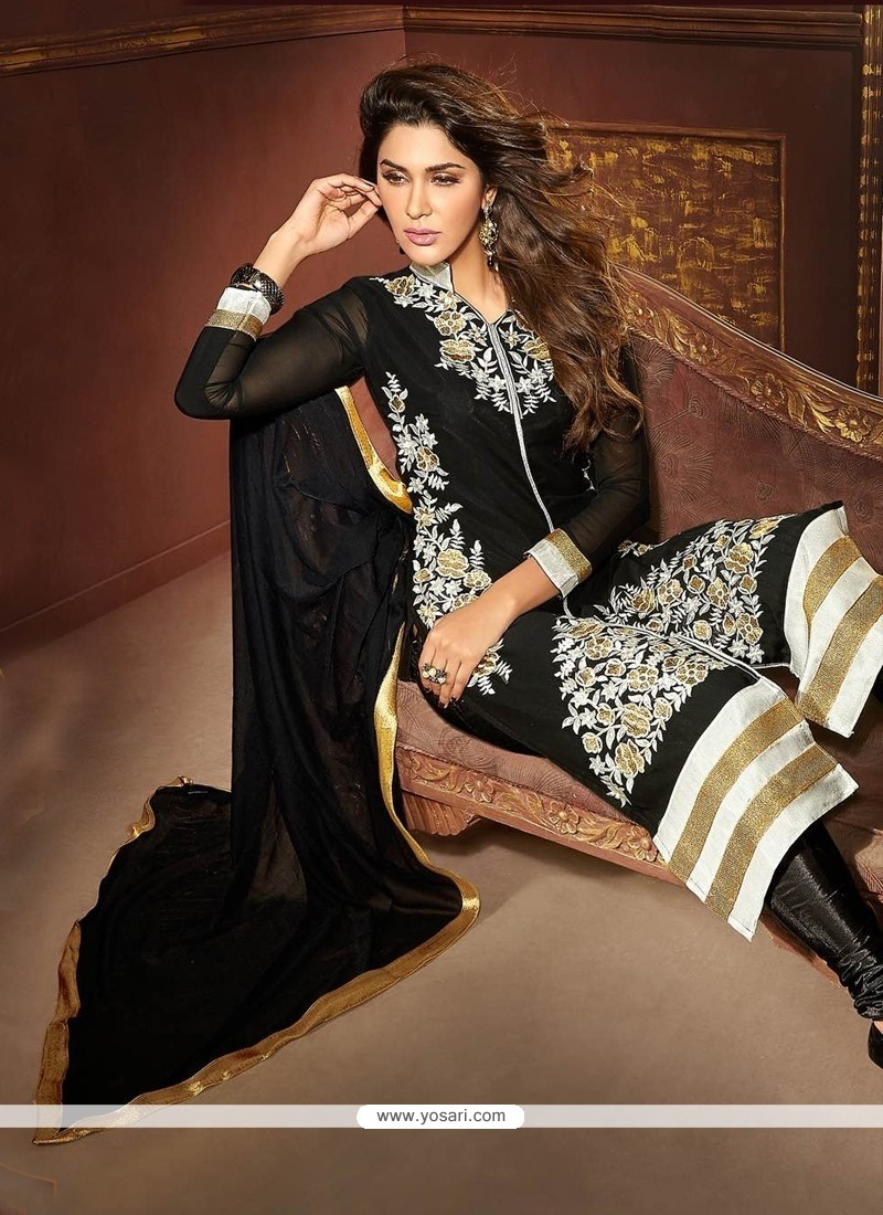 Modest Faux Georgette Black Churidar Designer Suit