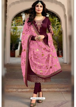 Deep Wine Embroidered Designer Faux Georgette Churidar Salwar Suit