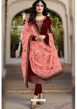 Maroon Embroidered Designer Faux Georgette Churidar Salwar Suit