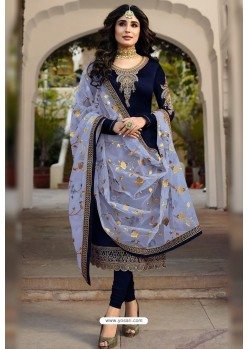 Navy Blue Embroidered Designer Faux Georgette Churidar Salwar Suit