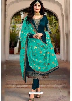 Teal Blue Embroidered Designer Faux Georgette Churidar Salwar Suit