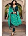 Teal Blue Embroidered Designer Faux Georgette Churidar Salwar Suit