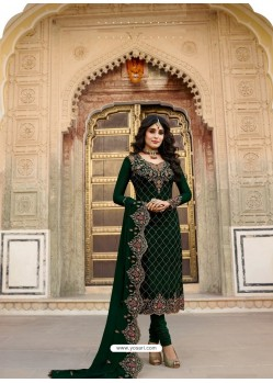 Dark Green Embroidered Designer Faux Georgette Churidar Salwar Suit