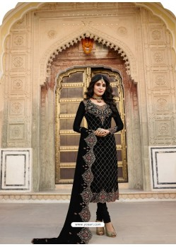 Black Embroidered Designer Faux Georgette Churidar Salwar Suit