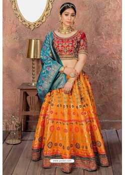 Multi Colour Heavy Embroidered Banarasi Silk Lehenga Choli