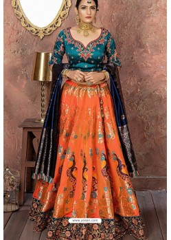 Orange Heavy Embroidered Banarasi Silk Lehenga Choli