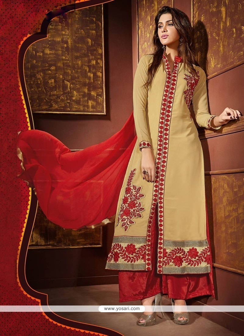 Gripping Beige And Red Resham Work Faux Georgette Designer Palazzo Salwar Kameez