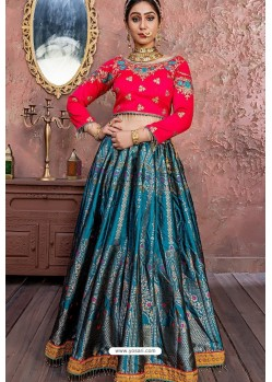 Peacock Blue Heavy Embroidered Banarasi Silk Lehenga Choli