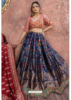 Navy Blue Heavy Embroidered Banarasi Silk Lehenga Choli