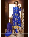 Invaluable Blue Zari Work Churidar Designer Suit