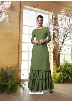 Mehendi Designer Embroidered Rayon Readymade Sharara Salwar Suit