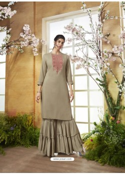 Taupe Designer Embroidered Rayon Readymade Sharara Salwar Suit