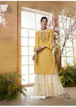 Yellow Designer Embroidered Rayon Readymade Sharara Salwar Suit