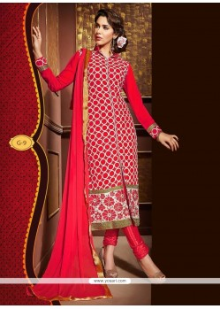 Dainty Faux Georgette Resham Work Churidar Designer Suit