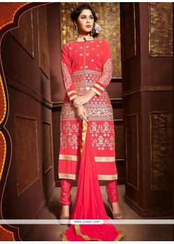Distinguishable Resham Work Hot Pink Churidar Designer Suit