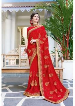 Red Designer Fancy Party Wear Georgette Silk Sari