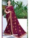 Rose Red Designer Fancy Party Wear Georgette Silk Sari