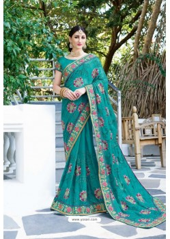 Turquoise Designer Fancy Party Wear Georgette Silk Sari