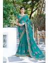 Turquoise Designer Fancy Party Wear Georgette Silk Sari
