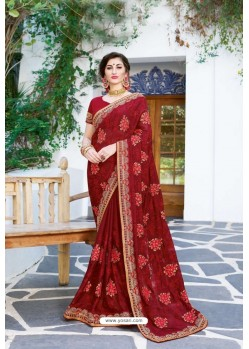 Maroon Designer Fancy Party Wear Georgette Silk Sari